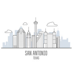 san antonio city skyline - skyscrapers and vector image