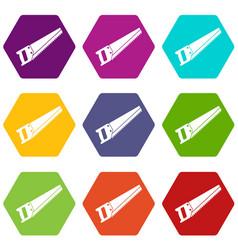saw icon set color hexahedron vector image
