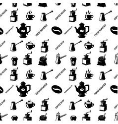 seamless pattern with coffee design elements vector image