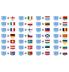 set banners with flags to the vector image