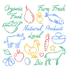 set of hand drawn farm food icons and lettering vector image