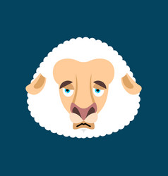 sheep sad face avatar farm animal sorrowful emoji vector image