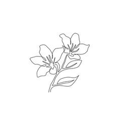 Single one line drawing beauty fresh azalea vector