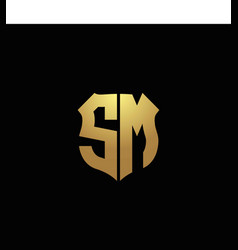 sm logo monogram with gold colors and shield vector image