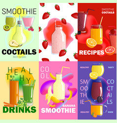 smoothie posters banner set vector image