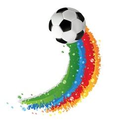 Soccer ball and rainbow trail vector