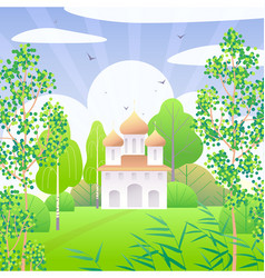 Springtime scene with church and green trees vector