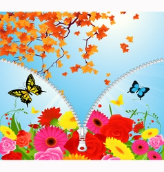 Summer autumn season change vector image