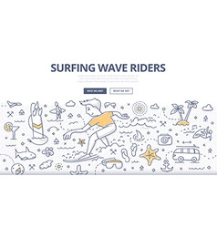 Surf Wave Riders Doodle Concept vector
