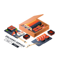 Sushi delivery service banner template vector