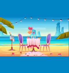 table at sea beach served for romantic dating vector image