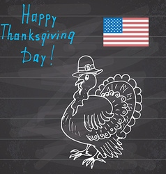 Thanksgiving day sketch doodle turkey in pilgrims vector