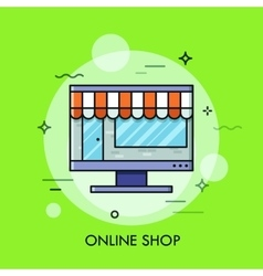 Thin line flat design of online store internet vector image