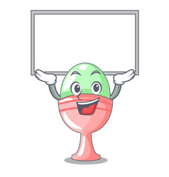 Up board boiled egg cup isolated on mascot vector