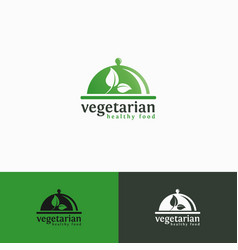 vegetarian - healthy food logo template vector image