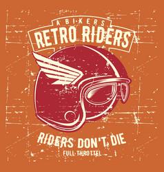 vintage grunge style helmet retro rider with text vector image