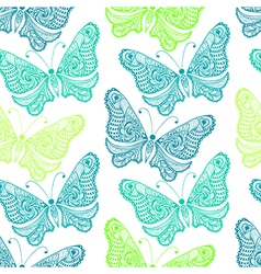 Zentangle stylized sea Butterfly seamless pattern vector image