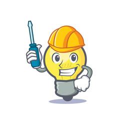 Automotive light bulb character cartoon vector