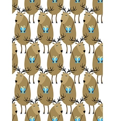 Christmas Reindeer with gifts seamless pattern vector image