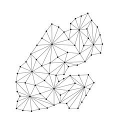 Djibouti map of polygonal mosaic lines network vector