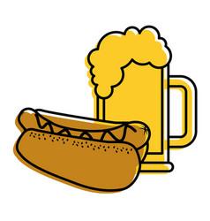 hot dog and beer food unhealthy vector image