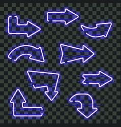 set of glowing blue neon arrows vector image vector image