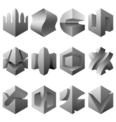 abstract 3D objects set vector image vector image