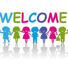 Cartoon Silhouette Children Welcome vector image vector image
