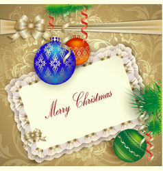 Christmas card with Christmas decorations vector image