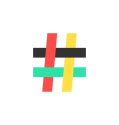 colored hashtag icon on white background vector image
