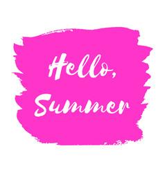 Hand paint pink watercolor texture hello summer vector