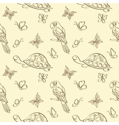 Seamless pattern animals contours vector image vector image