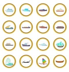 Ship and boat set cartoon style vector image