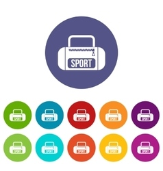 Sports bag set icons vector image