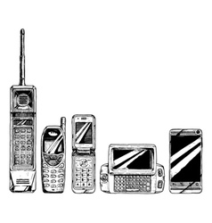evolution set of mobile phone vector image