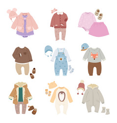 funny baby kids clothes icon set vector image