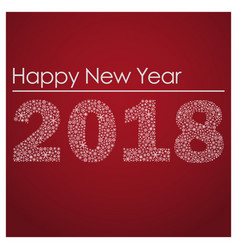 red happy new year 2018 from little snowflakes vector image vector image