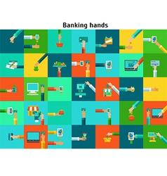 Set of banking hands vector image vector image