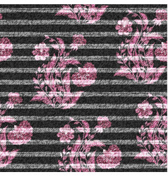 eastern floral seamless print on striped denim vector image vector image