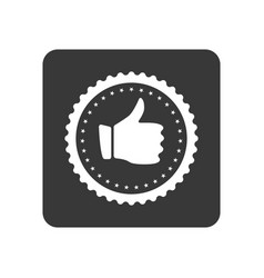 quality control icon with hand thumb up sign vector image vector image