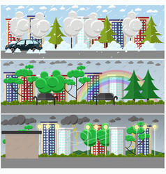 set of weather posters banners in flat vector image vector image