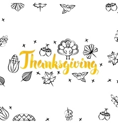 Thanksgiving Gold Greeting Postcard vector image vector image