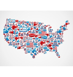 USA elections icons map vector image vector image