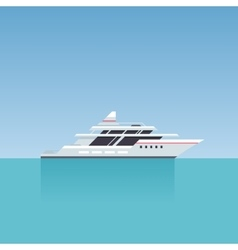 Yacht on Blue Water Summer Background Flat Style vector image