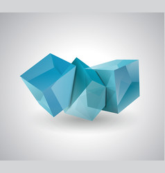 3d blue glass or ice cubes vector image