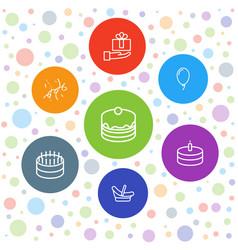7 birthday icons vector