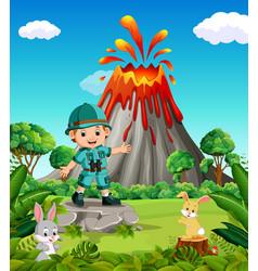 Adventurer in mountain vector