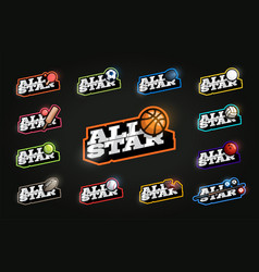 all star sport set modern professional typography vector image