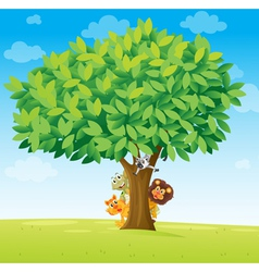 Animals under tree vector