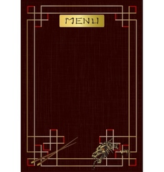 Asian menu with ornament and dragon vector image
